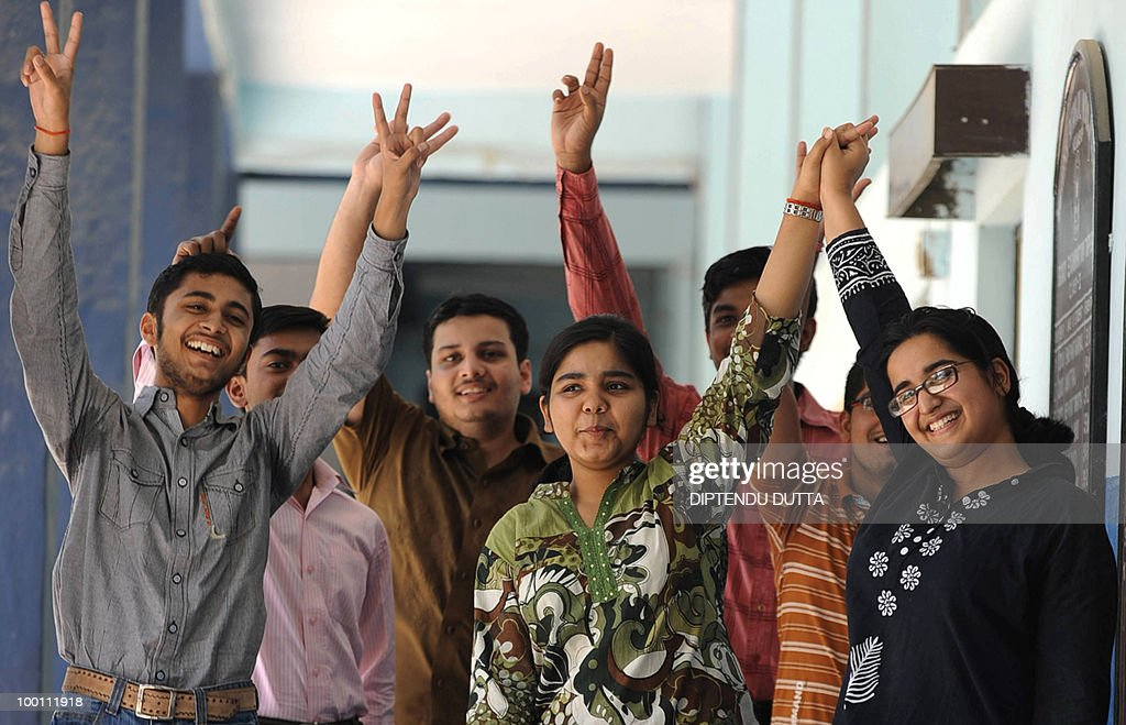Indian students celebrates their Central Board Secondary Examination (CBSE) results in a school in Allahabad on May 21, 2010. AFP PHOTO/Diptendu DUTTA