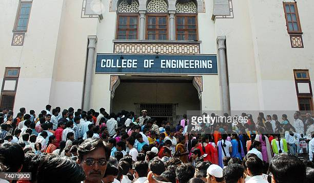 Indian students wait outside the the examination center for the Engineering Agriculture and Medicine Common Entrance Test 2007 conducted by the...