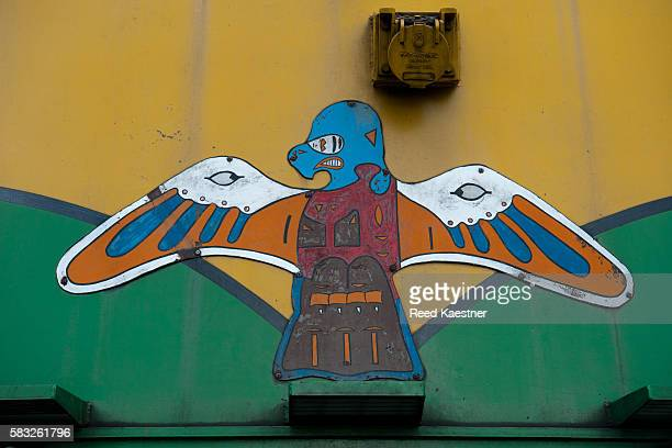 Indian style decal on the from of the diesel locomotive in Skagway