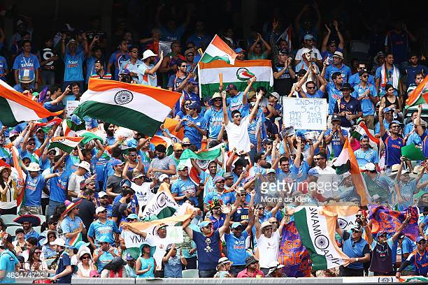 Indian supporters enjoy the atmosphere during the 2015 ICC Cricket World Cup match between India and Pakistan at Adelaide Oval on February 15 2015 in...