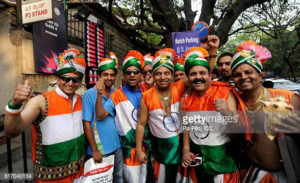 Indian supporters outside the stadium during the ICC World Twenty20 India 2016 match between India and Bangladesh at the Chinnaswamy stadium on March...