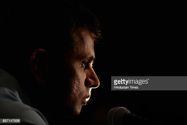 Indian Team captain Rahul Dravid addressing a press conferance at Grand Hyatt Hotel