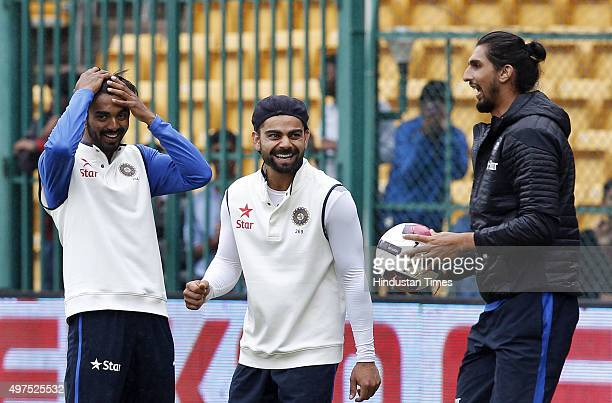 Indian team captain Virat Kohli and team members sharing a light moment while playing football during the 2nd Test match between India and South...