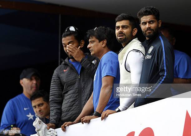 Indian team captain Virat Kohli observes weather from the pavilion during the 2nd Test match between India and South Africa at M Chinnaswamy Stadium...