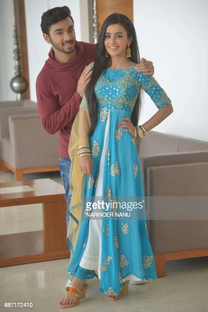 Indian television actors Samridh Bawa and Ankitta Sharma pose for a photograph during a promotional event for the ongoing serial 'Ek Shringaar...