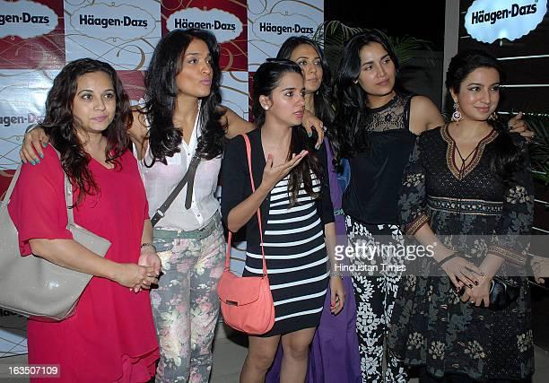 Indian television and bollywood actors Mansi Joshi Roy Sandhya Mridul Shruti Seth Mini Mathur and Tisca Chopra during International Women's Day party...