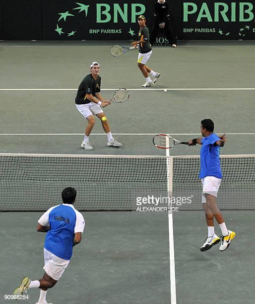 Indian Tennis palyer Mahesh Bhupathi and teammate Rohan Bopanna play aginst South African duo Wesley Moodie and Jeff Coetzee at Ellis Park Indoor...