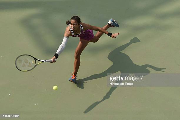 Indian tennis player Ankita Raina in action against Russian tennis player Marina Melnikova during Delhi Open 2016 tournament at DLTA Complex on...