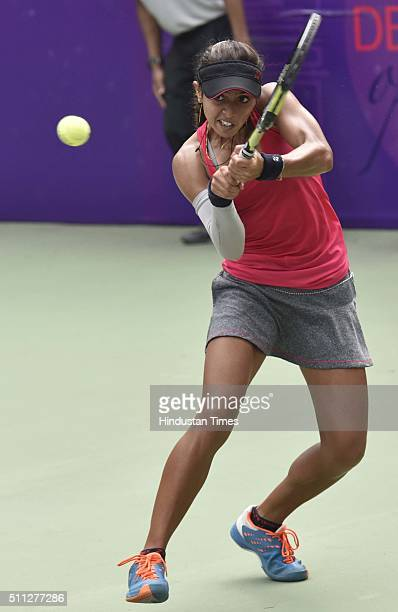 Indian Tennis player Ankita Raina in action against Uzbekistani Tennis player Sabina Sharipova during the Delhi Open 2016 at DLTA on February 19 2016...