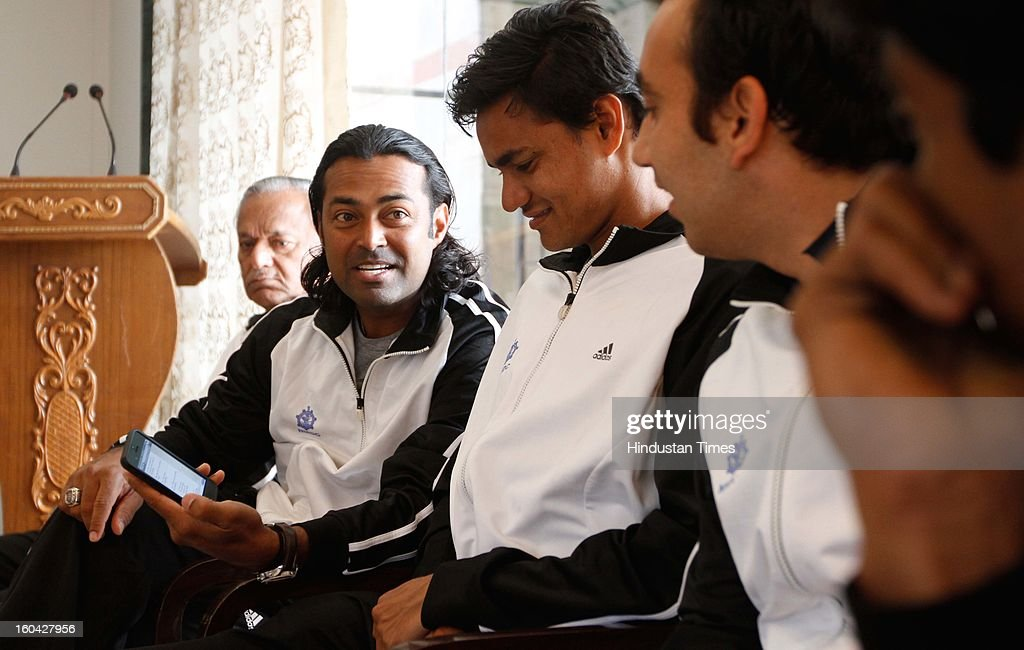 Indian tennis player Leander Paes during the draw for Davis Cup Asia/Oceania Group I at Delhi Lawn Tennis Association (DLTA) tennis court on January 31, 2013 in New Delhi, India.