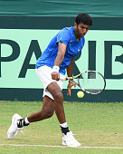 Indian tennis player Rohan Bopanna in action against Korean player Hong Chung during a Davis Cup reverse match between India and Korea at Chandigarh...