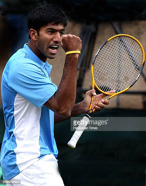 Indian Tennis player Rohan Bopanna in action against Uzbekistan during Davis Cup at Dltao on February 8 2008 in New Delhi India He is currently...