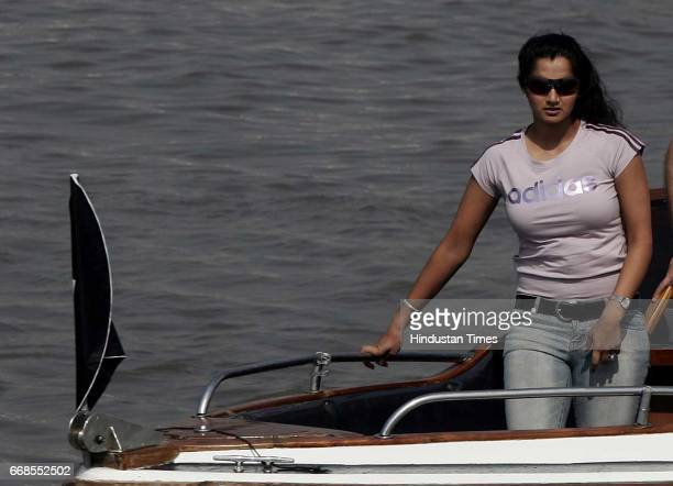 Indian tennis player Sania Mirza arrives on a boat for a promotional event for a adidas company off the coast of Mumbai