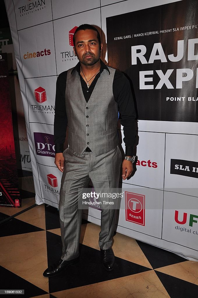 Indian Tennis player turned actor Leander Paes during premiere of his upcoming film Rajdhani Express: Point Blank Justice at PVR, Juhu on December 3, 2013 in Mumbai, India.