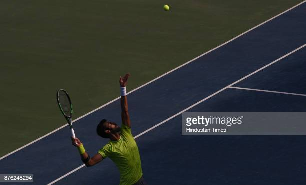 Indian Tennis player Yuki Bhambri in action against Japanese tennis player Kaichi Uchida during ATP Challenger Tennis match at Shree Chhatrapati...