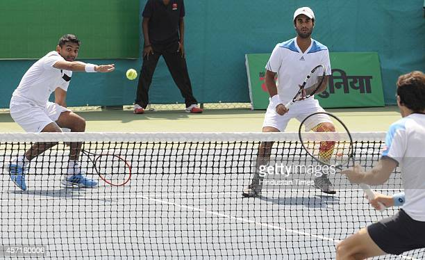 Indian Tennis players Yuki Bhambri and Divij Sharan playing against Italian duo Riccardo Ghedin and Stefano Travaglia during the opening day of...