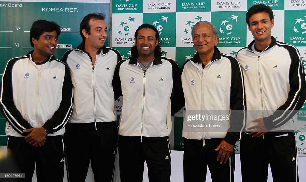 Indian tennis team pose for a photograph after the draw for Davis Cup Asia/Oceania Group I tie against South Korea at Delhi Lawn Tennis Association (DLTA) tennis court on January 31, 2013 in New Delhi, India.