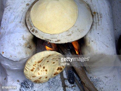 Indian thin wheat bread : Stock Photo