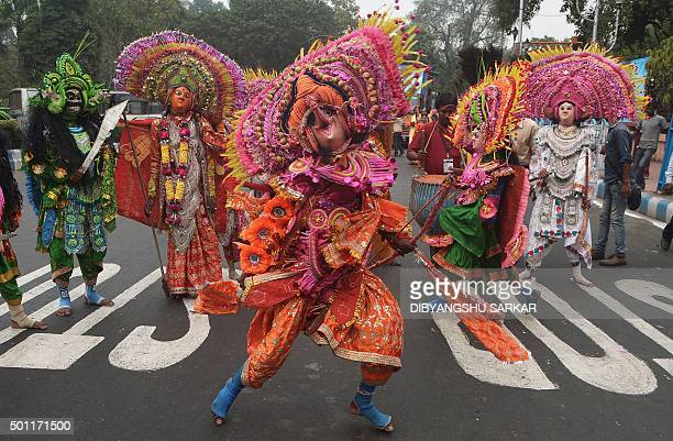 Indian traditional artists perform a folk dance in Kolkata on December 13 2015 The rally was organised to promote traditional folk art forms of the...