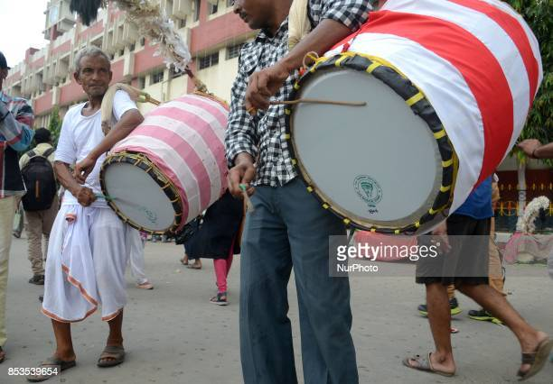Indian traditional drummers perform outside the Sealdah railway station as they hired during the Durga Puja festival in Kolkata India on Monday 25th...
