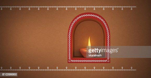 Lampe A Huile Traditionnelle Indienne Avec Kolam Design Photo