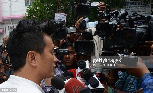 Indian Trinamool Congress party candidate for Siliguri seat in Darjeeling Constituency Baichung Bhutia speaks with the media after his defeat in the...