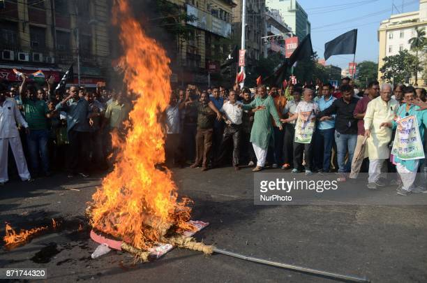 Indian Trinamul Congress activists protesting against the central government decision on the eve of first anniversary of demonetisation in Kolkata...