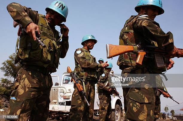 Indian UN peacekeepers prepare for a foot patrol July 17 2006 in Goma in eastern Democratic Republic of Congo Some 17000 UN troops are in Congo in an...