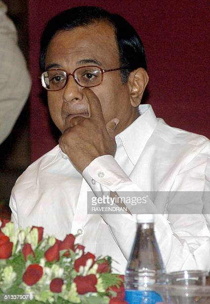 Indian Union Finance Minister P Chidambaram gestures during a conference in New Delhi 23 September 2004 The Empowered Committee on Valueadded Tax...