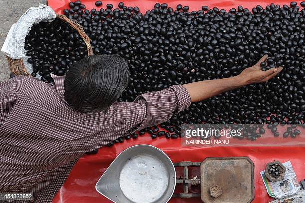 Indian vendor Chranjit Kumar displays Jamun a fruit which is in heavy demand during the summer at the roadside in Amritsar on July 14 2009 Jamun...