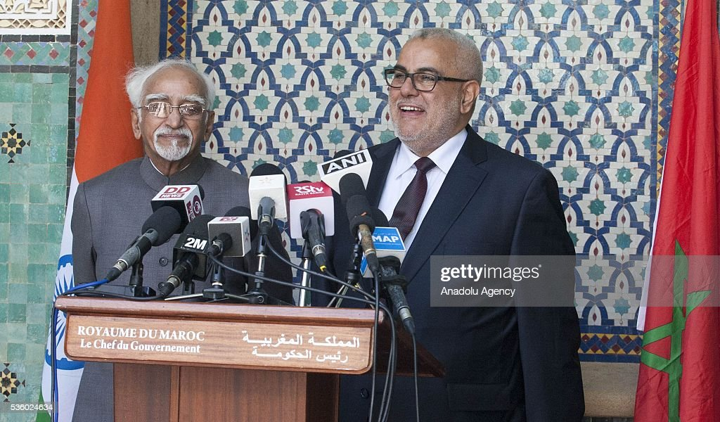 Indian Vice President Mohammad Hamid Ansari (L) and Moroccan Prime Minister Abdelilah Benkirane (R) hold a joint press conference after their meeting in Rabat, Morocco on May 31, 2016.