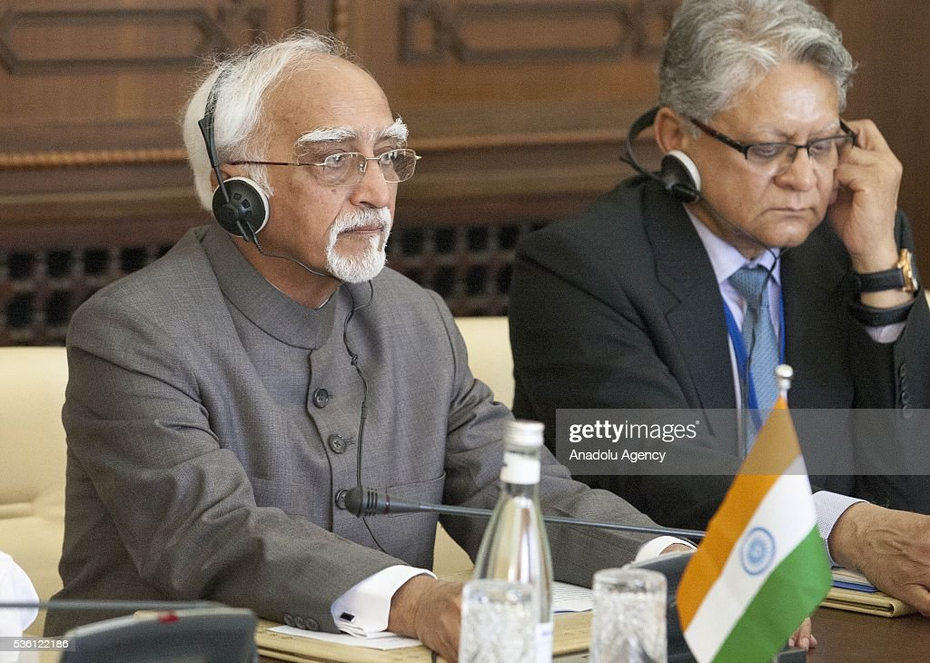 Indian Vice President Mohammad Hamid Ansari (L) is seen during a meeting with Moroccan Prime Minister Abdelilah Benkirane (not seen) in Rabat, Morocco on May 31, 2016.