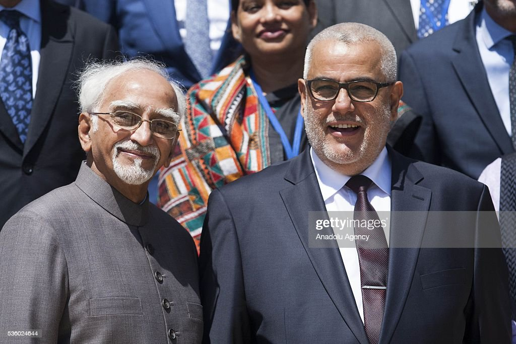 Indian Vice President Mohammad Hamid Ansari (L) meets Moroccan Prime Minister Abdelilah Benkirane (R) during his official visit in Rabat, Morocco on May 31, 2016.