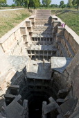 Indian visitors stand on the edge of The Ran Ki Vav Stepwell at Patan some 120 kms from Ahmedabad on November 21 2008 The Archaeological Survey of...