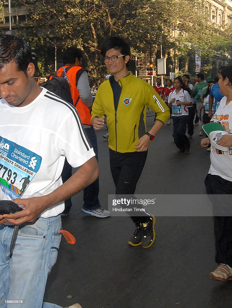 Indian VJ and actor Meiyang Chang taking part in Standard Chartered Mumbai Marathon on January 20, 2013 in Mumbai, India.