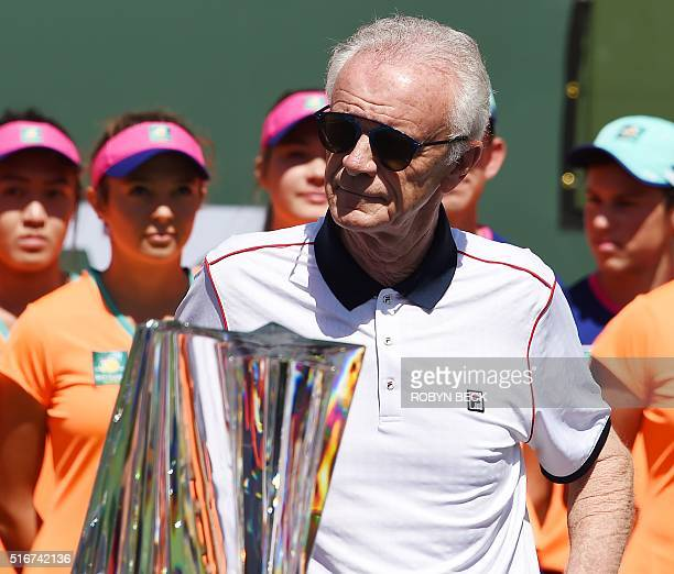 Indian Wells Tennis Garden CEO Raymond Moore attends the trophy presentation ceremony after the men's final at the BNP Paribas Open at the Indian...