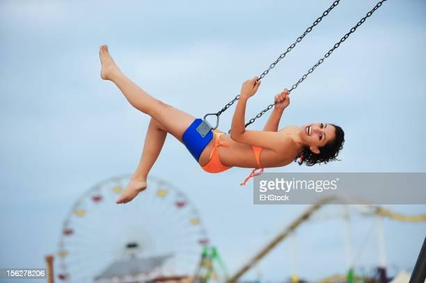 Indian Woman Bikini Model on Swing at Beach
