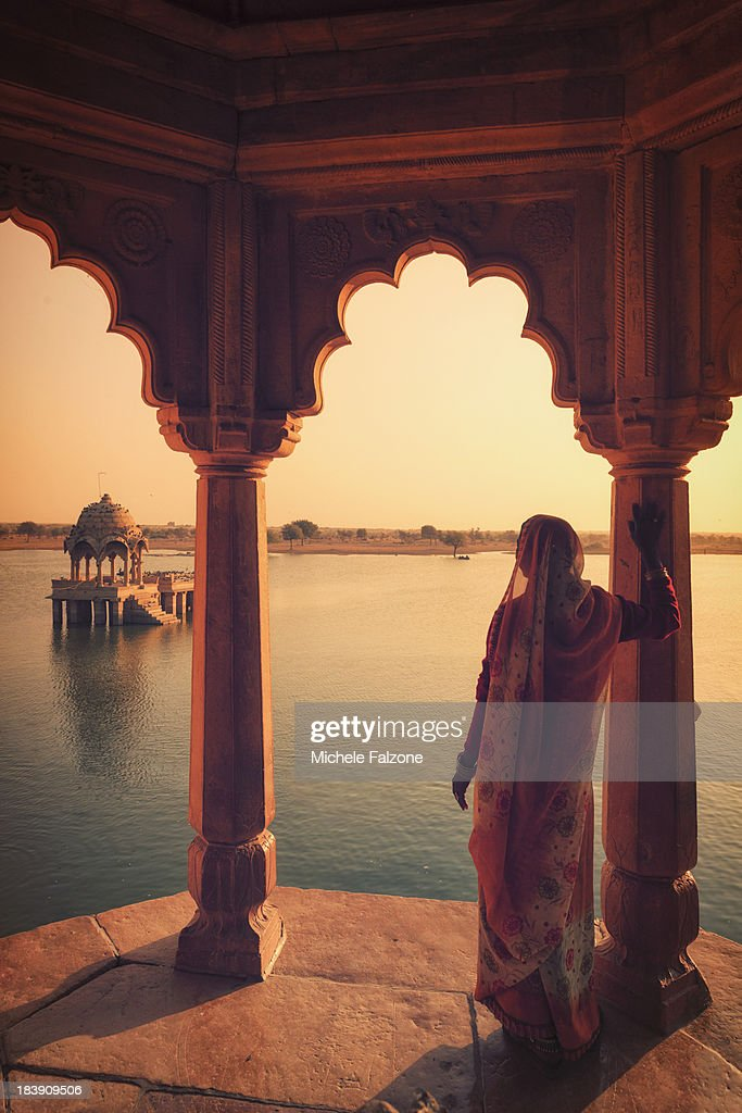 Indian woman looking at landscape