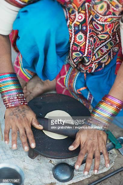 Indian Woman Making Chapati Bread