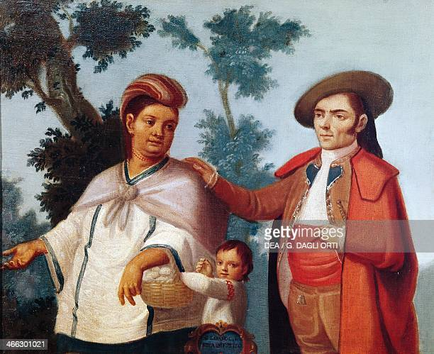 Indian woman mixed race child and Spanish man painting Mexico 18th century