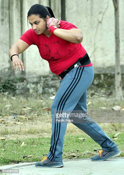 Indian woman ShotPutter Manpreet Kaur who qualified for the Rio Olympics after breaking the national record at the 55th National Open Athletics...