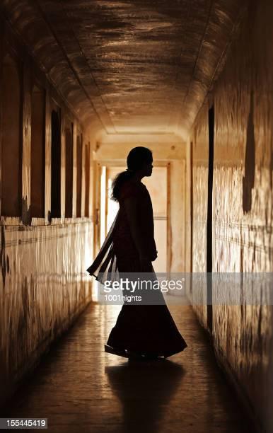 Indian woman silhouette. Fatehpur Sikri, India