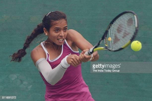 Indian Woman Tennis Player Ankita Raina Playing Delhi Open 2016 at DLTA in New Delhi