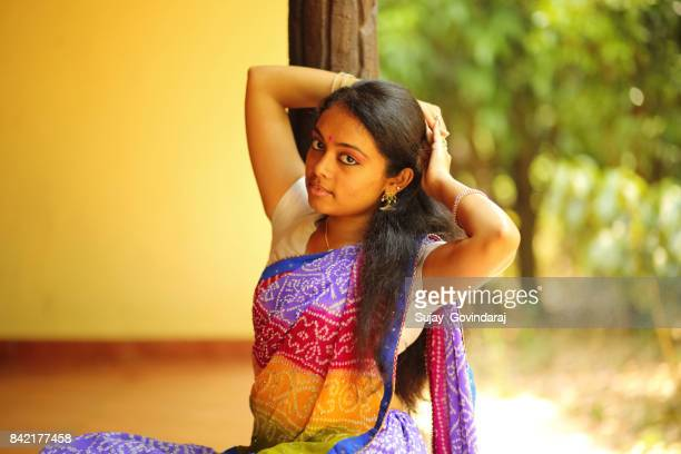 Indian Woman Tying Her Hairs
