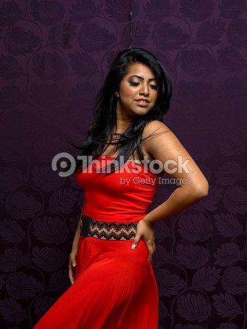 0ff7facd47 Indian Woman Wearing Beautiful Flowing Sleeveless Dress Stock Photo ...