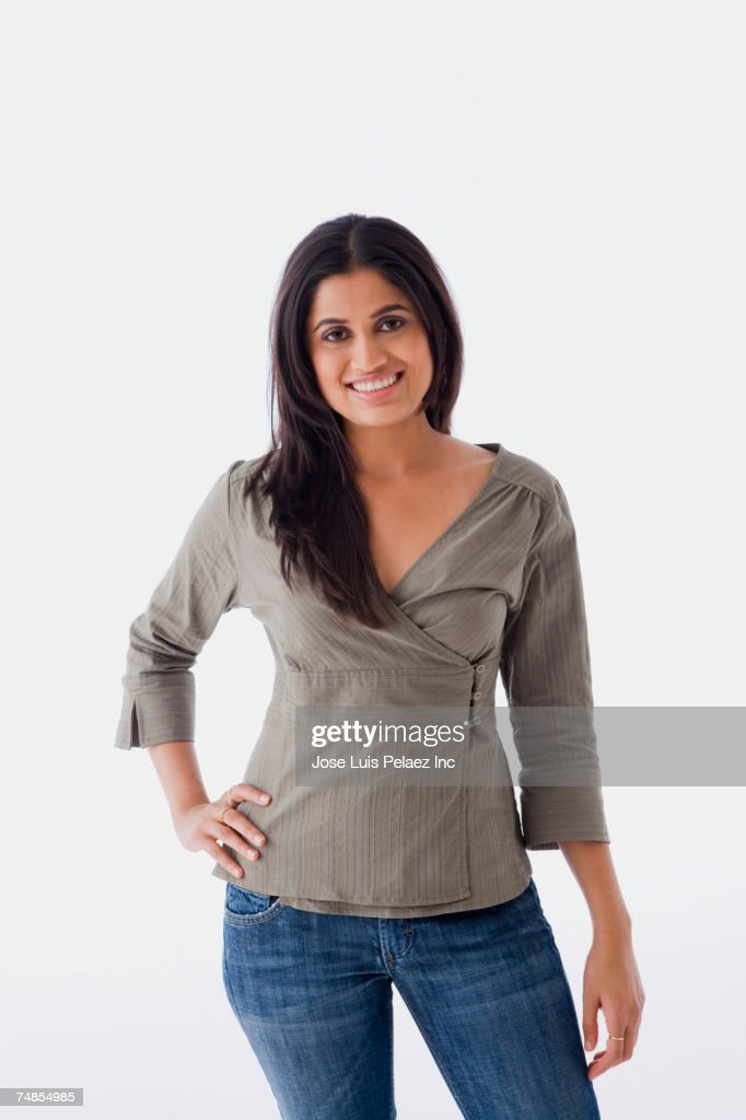 Indian woman with hand on hip