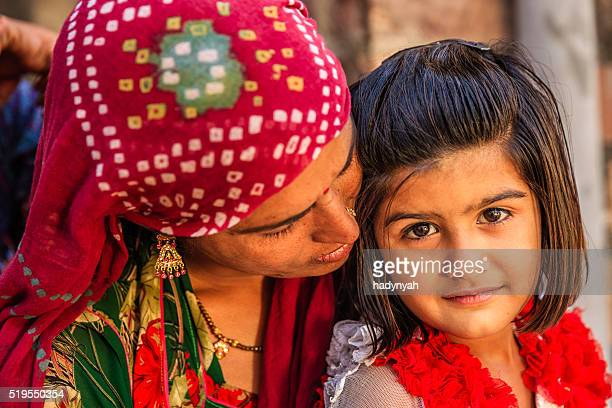 Indian woman with her daughter, Bishnoi village