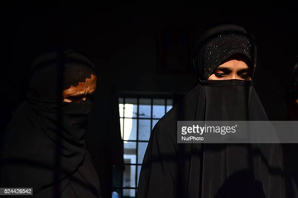 Indian women cast their vote in a polling centre for first phase of Panchayat elections in Rampur23 kms from Allahabad on October 92015