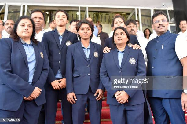Indian Women Cricket team members – Mona Meshram Punam Raut and Smriti Mandhana along with support staff at Vidhan Bhavan during the monsoon assembly...