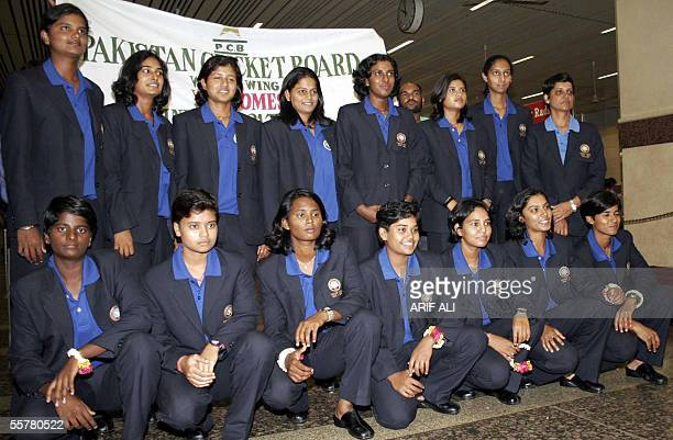 Indian women cricket team players pose for a group photo after arriving in Lahore 27 September 2005 The visit of the Indian under21 women cricket...